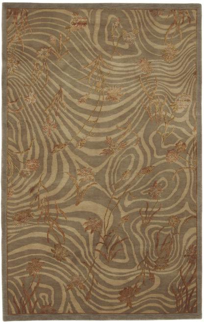 Hand Knotted Tibetan 5x8 Wool Silk Area Rug