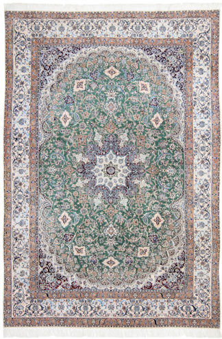 Persian Nain 6-ply 8' x 10' Wool Silk Teal Area Rug