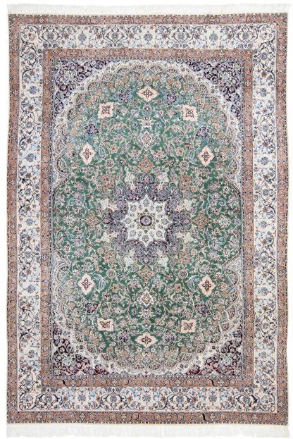 Persian Nain 6-ply 8' x 10' Wool Silk Teal Area Rug