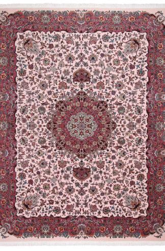 Persian Tabriz 10'x13' Rose Wool & Silk Area Rug