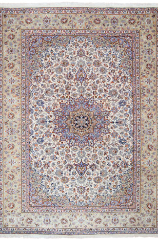 Persian Kashan 10' x 14' Ivory Blue Wool Area Rug