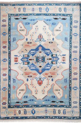 Turkish Oushak 10' x 14' Blue Ivory Area Rug