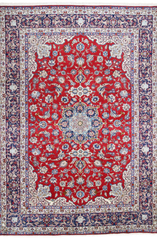 Hand Knotted Persian Isfahan 10x14 Red Blue Area Rug