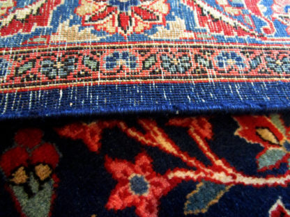 Antique Extra-Fine Persian Kashan 10x14 Blue Red Area Rug