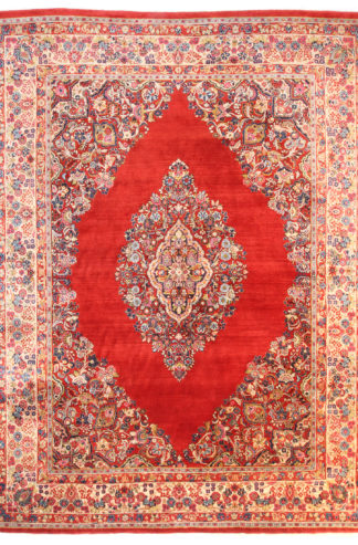 Persian Sarouk Wool 10x14 Red Ivory Area Rug