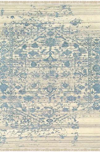 Fine Transitional Wool & Silk 8x10 Blue Ivory Area Rug