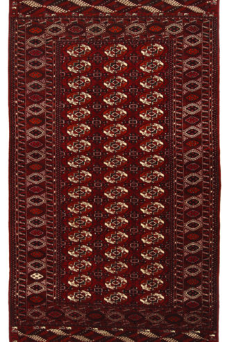 Hand Knotted Turkmen 6x11 Red Wool Area Rug