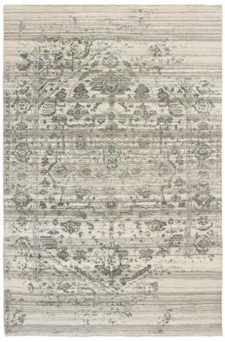 Dazzle Transitional 6'x9′ Wool Silk Ivory Grey Area Rug