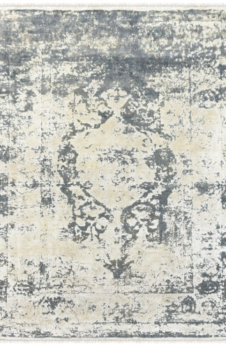 Textured Hand Knotted 6'x9' Wool Silk Grey Ivory Area Rug