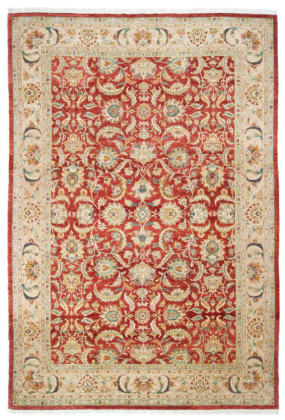 Hand Knotted Jaipur Wool 10x15 Rust Beige Area Rug