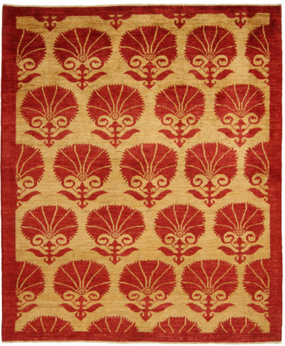 Hand Knotted Spanish Design 6x9 Red Beige Area Rug