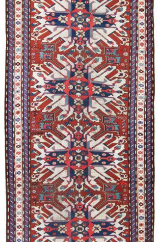 Antique Eagle Kazak c1900 5x10 Red Blue Area Rug