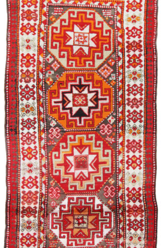 Hand Knotted Kazak 4x9 Red Orange Area Rug