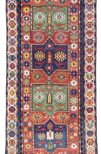 Antique Kazak Wool 4x8 Rust Blue Area Rug