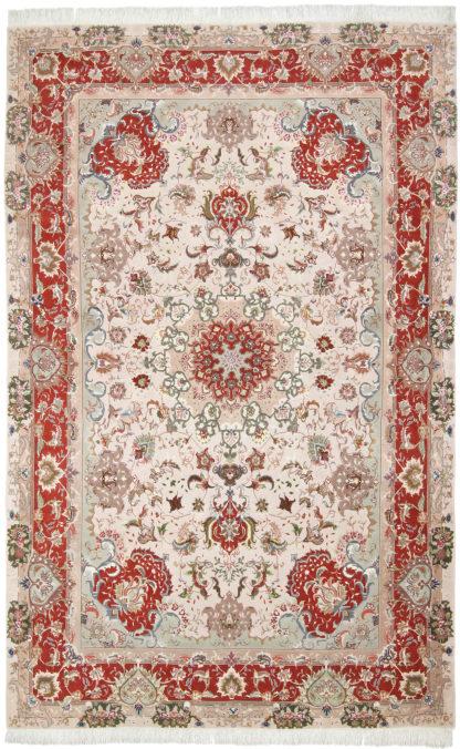 Persian Tabriz Wool & Silk 7'x10' Ivory Rust Area Rug