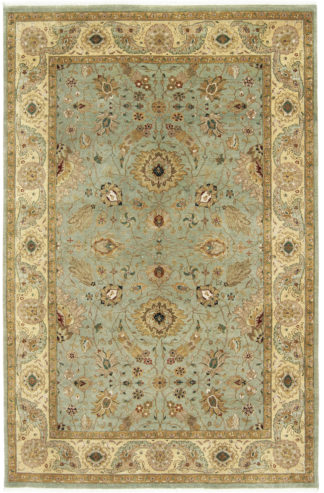 Hand Knotted Wool 6x9 Mint Ivory Area Rug