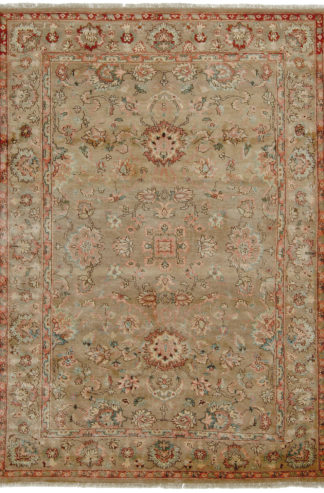 Hand Knotted Agra Design 6' x 9' Wool Area Rug