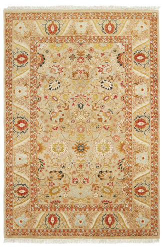 Hand Knotted 6x9 Beige Rust Area Rug