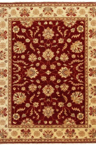 Hand Knotted Chobi 5x7 Maroon Wool Area Rug