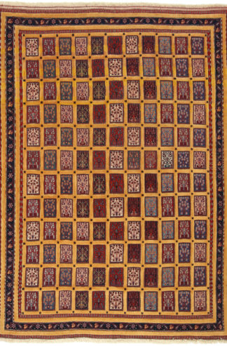 Persian Qashqai Sofra 7x10 Red Yellow Area Rug