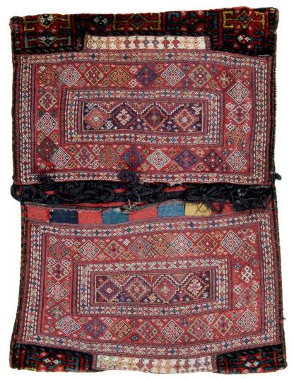 Antique Bakthiari 3x4 Red Blue Wool Saddle Bag