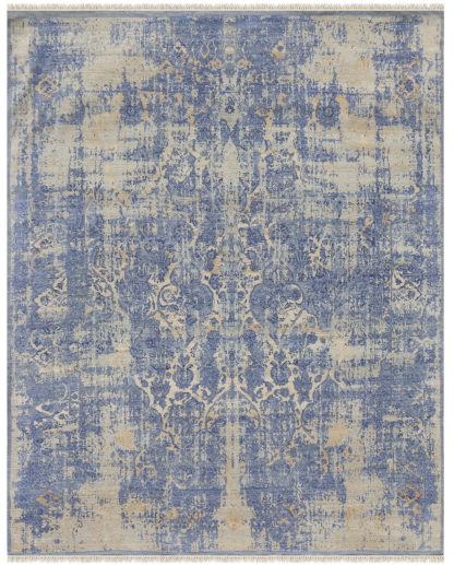 Aubergine Transitional 6'x9' Blue Beige Area Rug