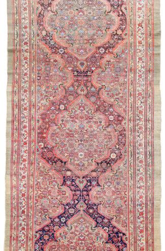 Antique Persian Sarab 7x18 Beige Rose Wool Area Rug