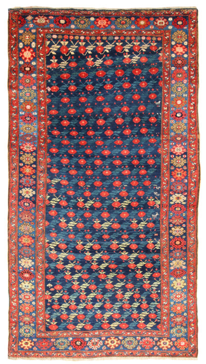 Antique Shirvan 7x12 Red Blue Area Rug