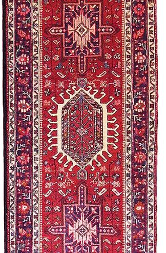 Persian Karajeh Runner 3x14 Red Ivory Wool Area Rug