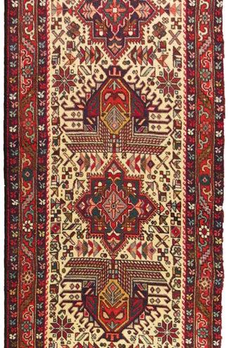 Persian Karajeh Runner 3x13 Blue Red Wool Area Rug