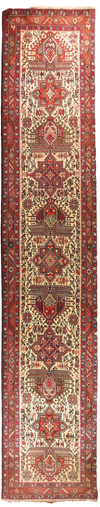 Persian Karajeh Runner 3x12 Red Ivory Wool Area Rug