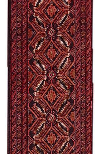 Persian Baluch Runner 2x13 Red Black Wool Area Rug