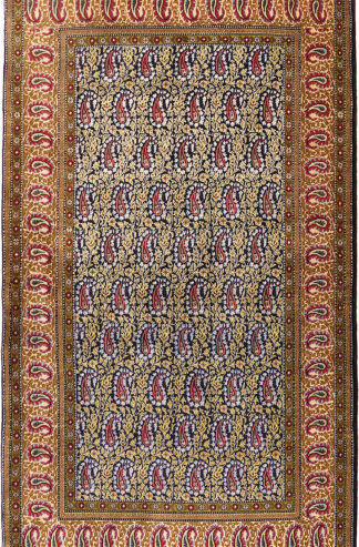 Persian Qum 3x5 Blue Green Wool Area Rug