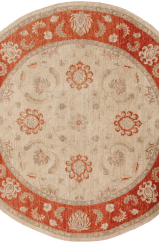Chobi Hand Knotted 6' Round Wool Area Rug
