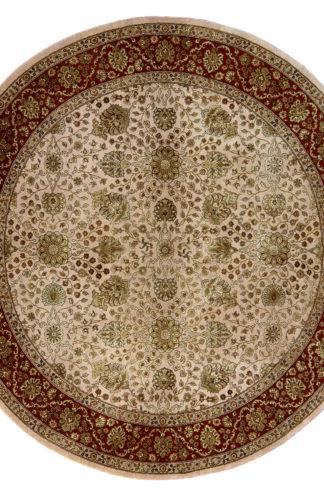 Tabriz Design India 6' Round Wool & Silk Area Rug