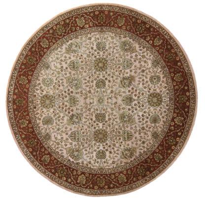 Tabriz Design India 5' Round Wool & Silk Area Rug