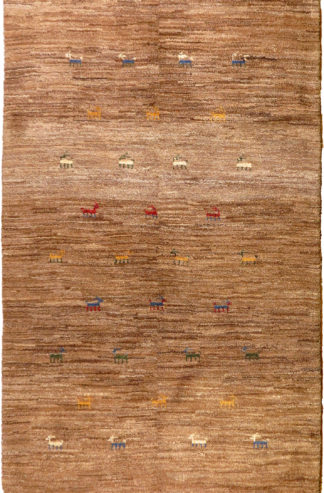 Persian Gabbeh Wool 4x6 Brown Area Rug