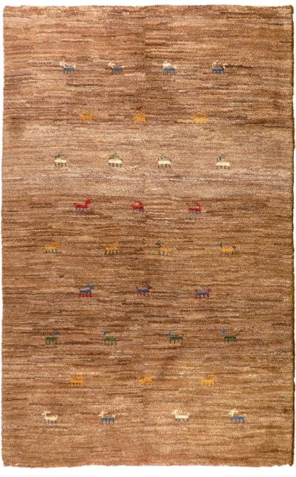 Persian Gabbeh Wool 4x6 Brown Area Rug