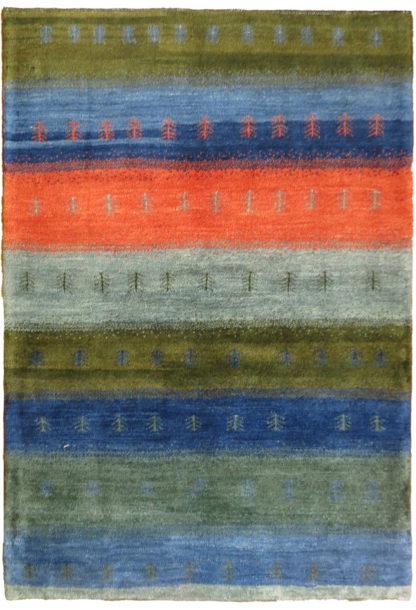 Persian Gabbeh 5x6 Blue Green Wool Area Rug