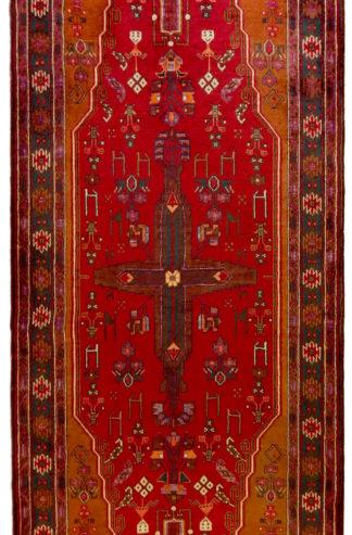 Persian Kordi Runner 4x10 Red Brown Wool Area Rug