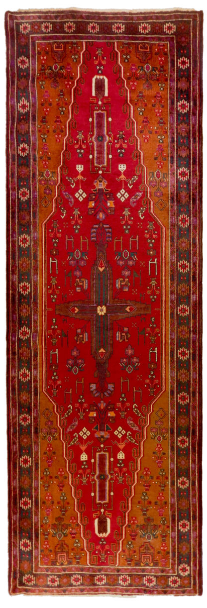 Persian Kordi Runner 4x10 Red Brown Wool Area Rug