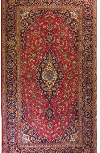 Persian Kashan 6x10 Red Blue Wool Area Rug
