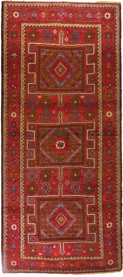 Persian Kordi 6x11 Red Green Wool Area Rug