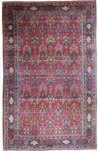 Persian Sarouk Semi-Antique Wool 9x14 Red Blue Area Rug