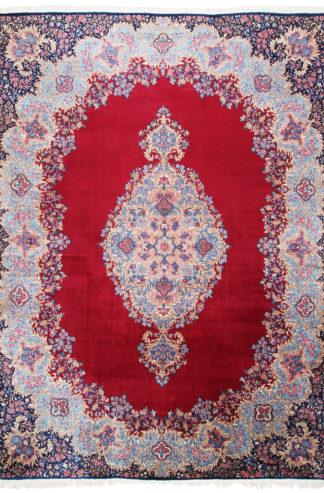 Persian Kerman Wool 10x13 Red Blue Area Rug