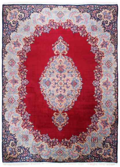 Persian Kerman Wool 10x13 Red Blue Area Rug