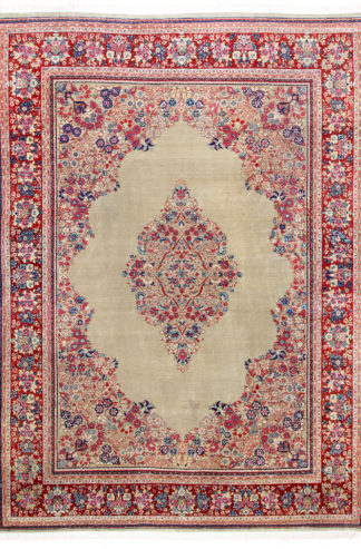 Persian Sarouk Wool 10x14 Beige Red Area Rug