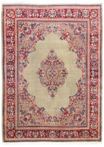 Persian Sarouk Wool 10x14 Beige Red Area Rug