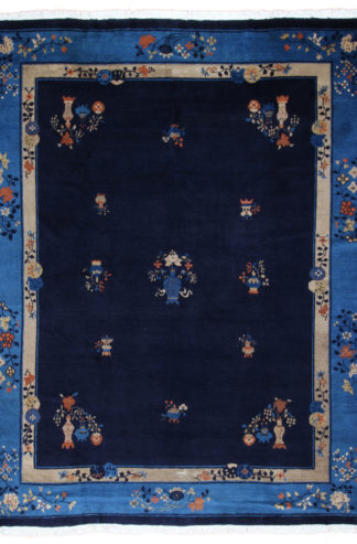 Antique Peking 9x12 Blue Wool Area Rug