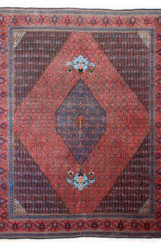 Persian Bijdar 9x12 Rose Blue Area Rug